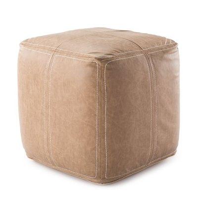 Faux Leather Woven Pouf