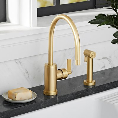 West Slope Lever Handle Single Hole Kitchen Faucet with Sprayer