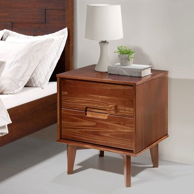 Walnut 2-Drawer Nightstand with Cutout Handles