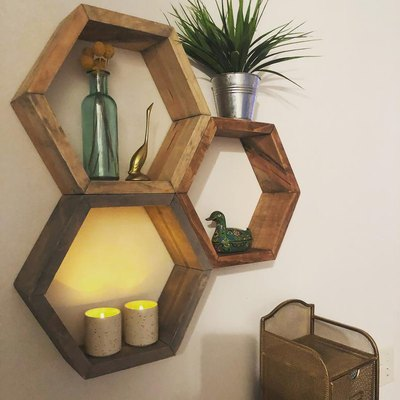 Glitter and Mason Shelves Hexagon Wood Shelf