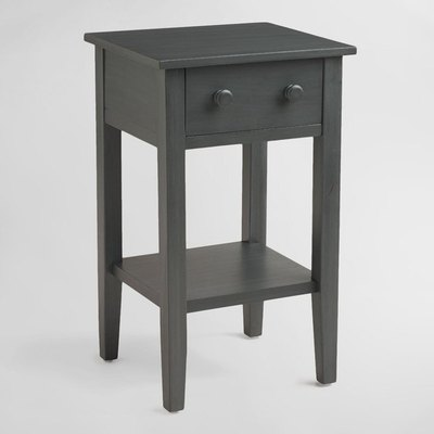 Crafted of hardwood, our Sara nightstand is simple yet stylish and ready to be personalized. Its distressed gray-blue finish is a refreshing neutral option highlighted by varying grains for added depth.