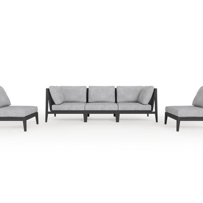 Aluminum Outdoor Sofa with Armless Chairs