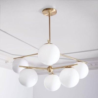 Sphere + Stem 6-Light Chandelier