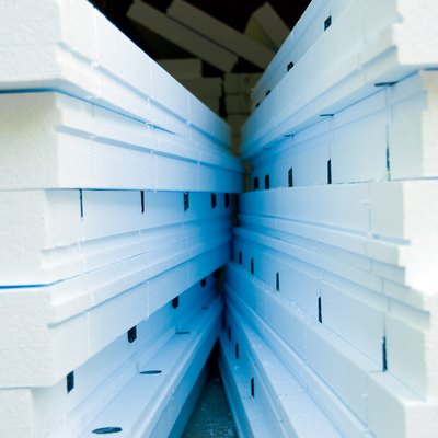 Stacks of solid foam insulation panels