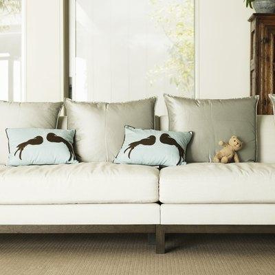 Stuffed Bear and pillows on sofa