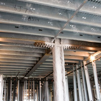 Steel beams at construction site