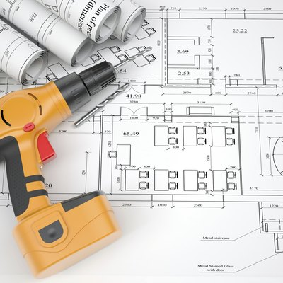 Architectural drawings and electric screwdriver