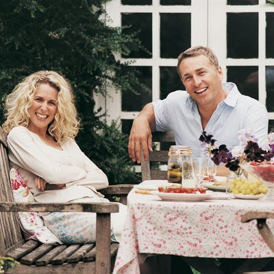 Portrait of Couple at Lunch in Their Garden