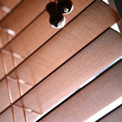 Wooden slats in venetian blind