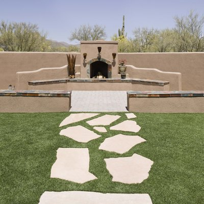 Flagstone & Grass Patio DIY