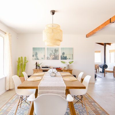 Beautiful dining space with a polished cement foundation floor in Joshua Tree, CA