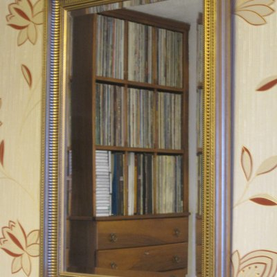 Mirror reflecting a record collection.