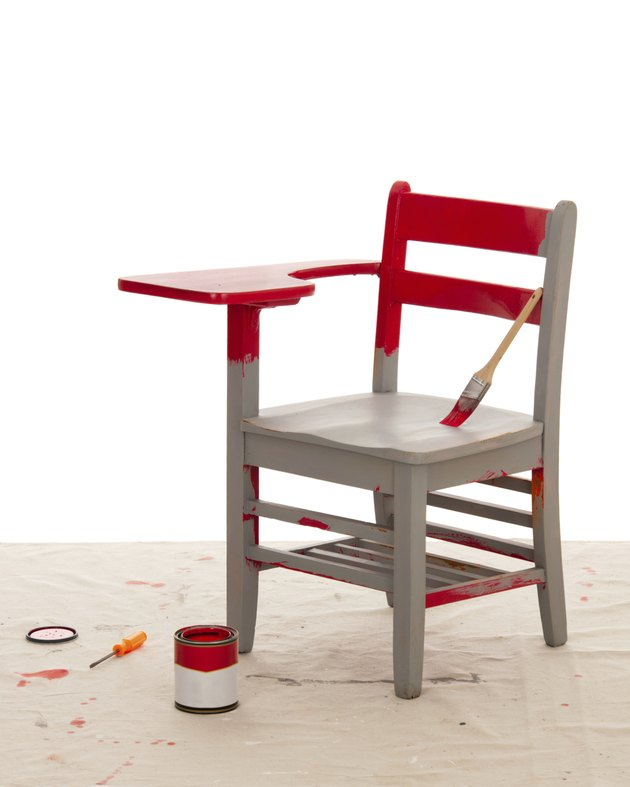 Red Paint over Primer on Furniture (Desk Restoration Series)