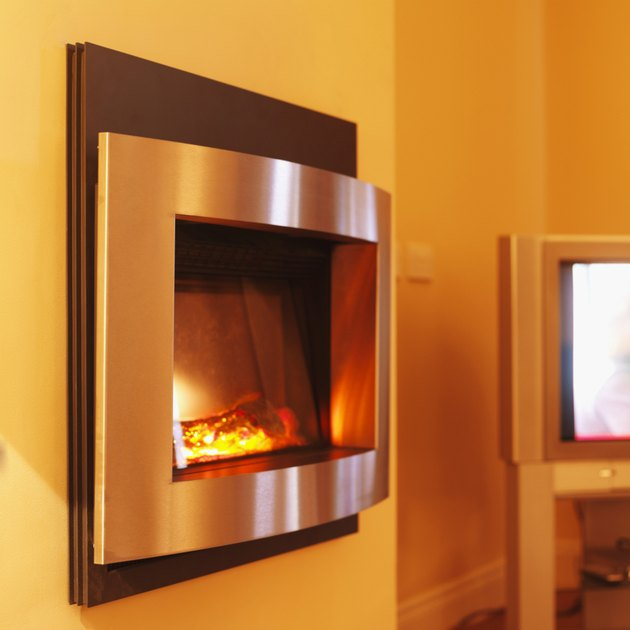 Side view of electric fireplace