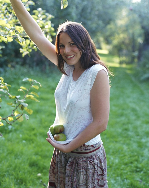 Woman picking apples from tree in garden, smiling, portrait