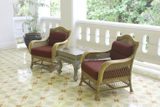 Table chair combination bamboo rattan seating area beautiful des