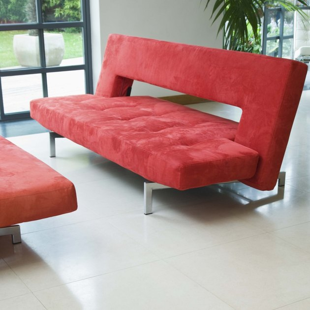 Modern design living room with red sofa
