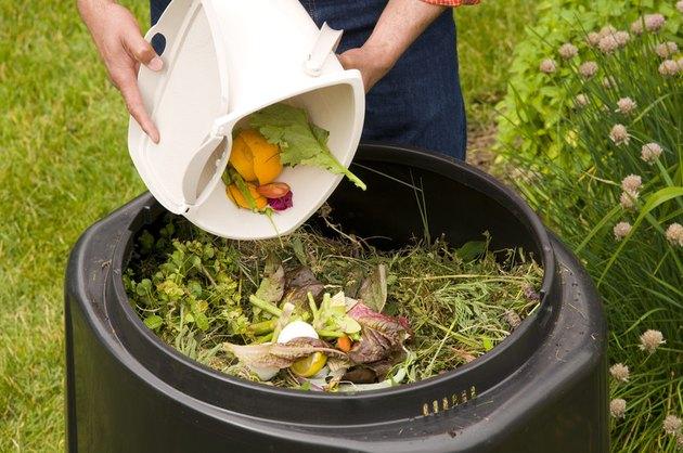 Adding to a compost bin.