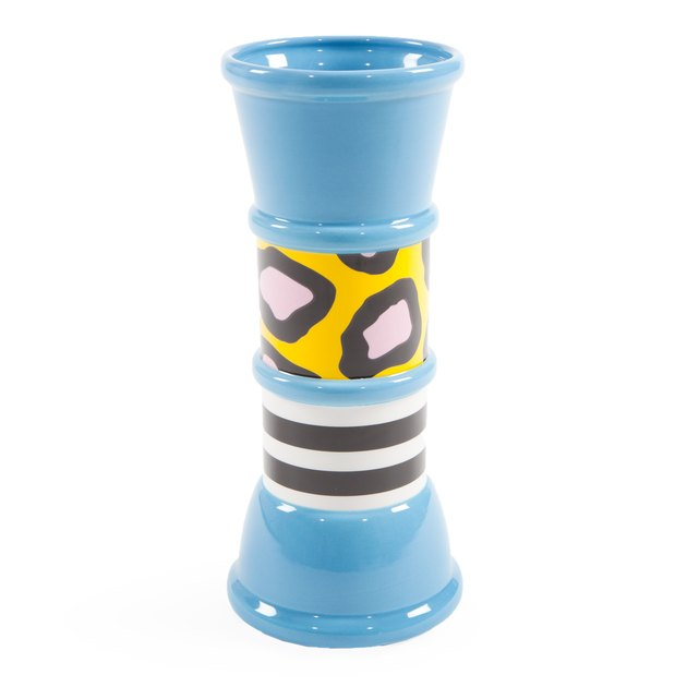 blue vase with patterns designed by Nathalie du Pasquier