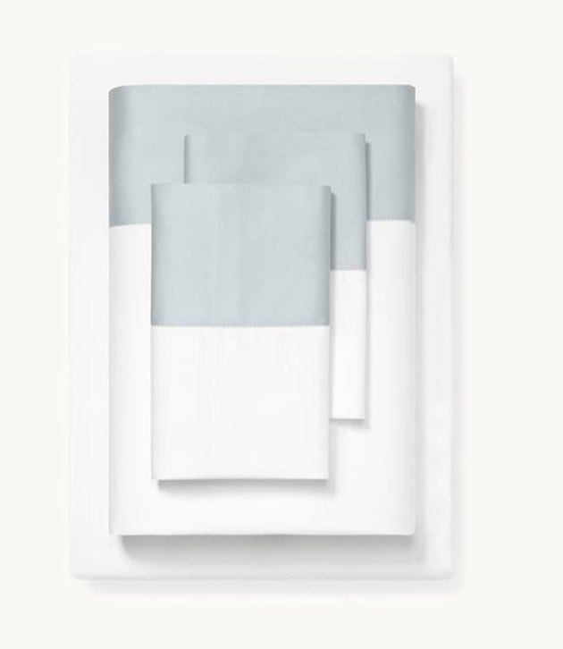 white and light blue colorblock sheets