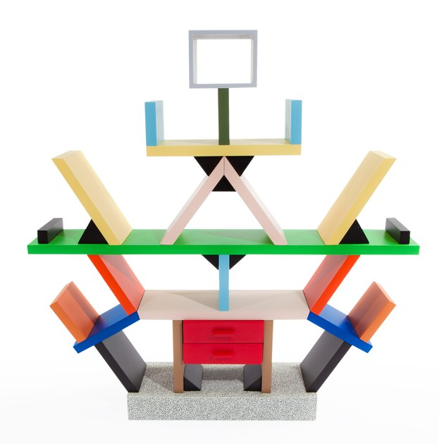 bookcase in memphis design style designed by Ettore Sottsass