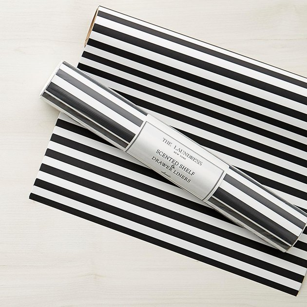 black and white stripe drawer liner