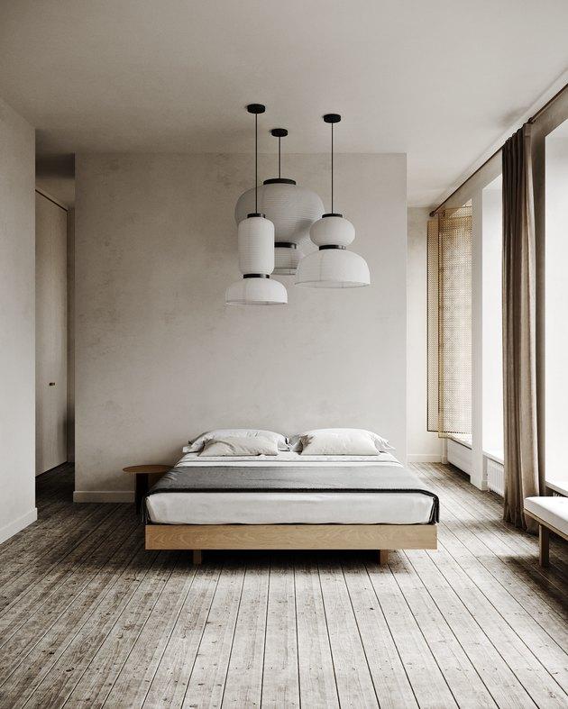 restful wabi sabi bedroom with neutral color palette
