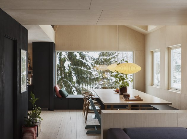 dining room with dark and light wood