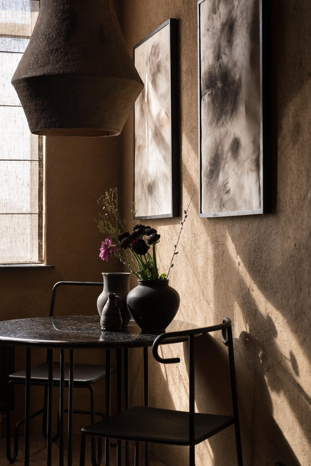 clay walls in wabi-sabi apartment