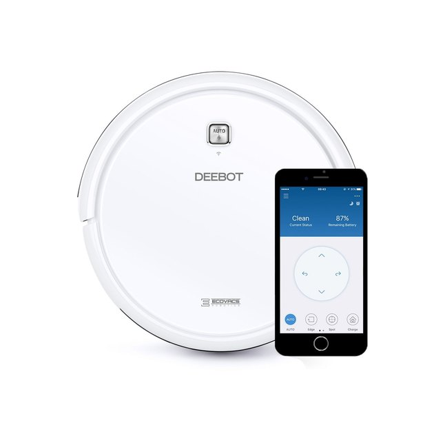 white Ecovacs Multi-Surface Robotic Vacuum Cleaner with App Control