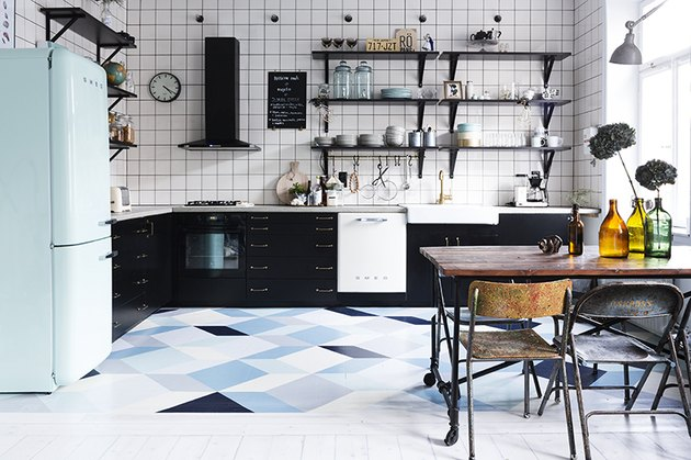 navy kitchen with hand-painted blue kitchen floor tiles