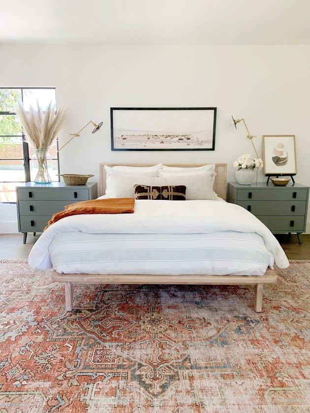 desert themed bedroom with midcentury inspired bedroom