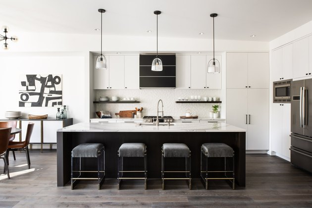 espresso kitchen island in black and white space