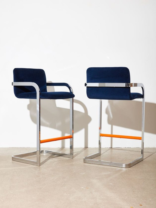 Blue Velvet and Chrome Barstool Pair, $1,500