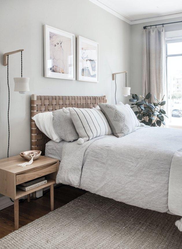woven leather Scandinavian headboard in gray bedroom