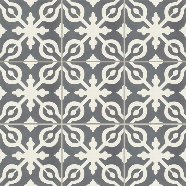 Cream and blue-gray patterned tile