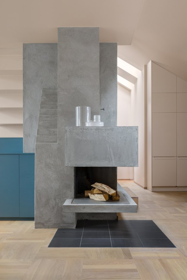 concrete modern fireplace