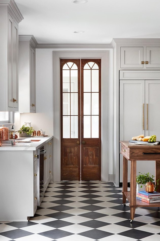 Black and White Checkerboard Kitchen Floor  by Magnolia