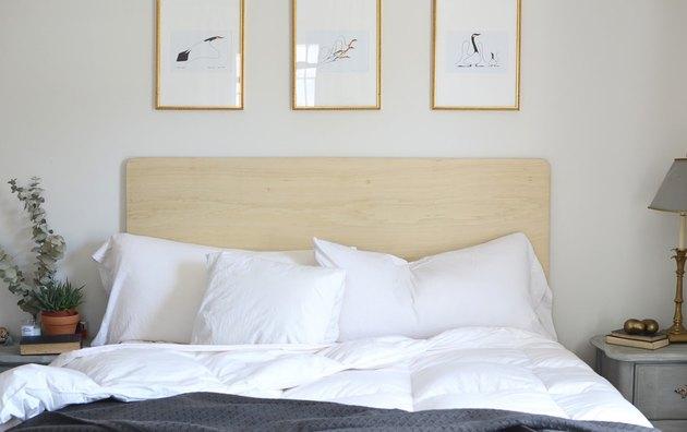 DIY Scandinavian Modern Headboard with white bedding