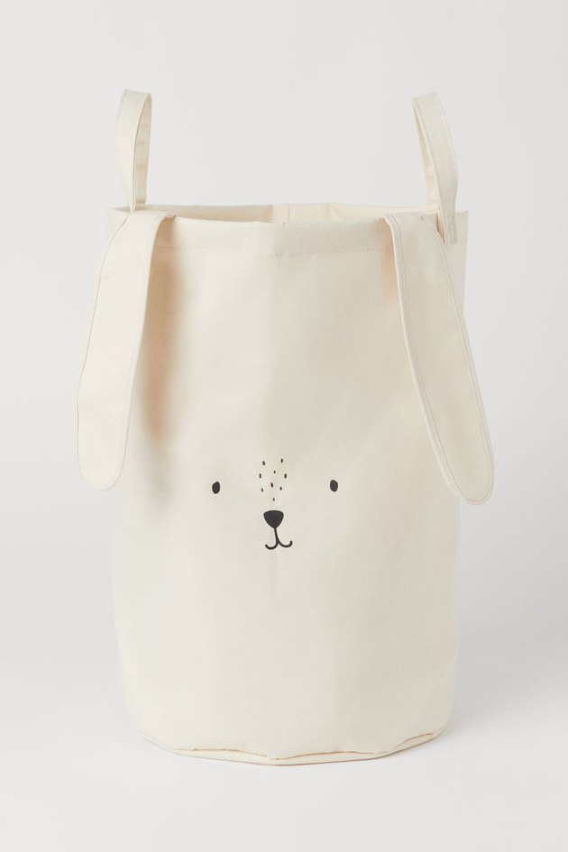 canvas storage basket with handles, bunny face. and bunny ears