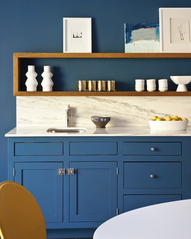 blue walls and kitchen cabinets