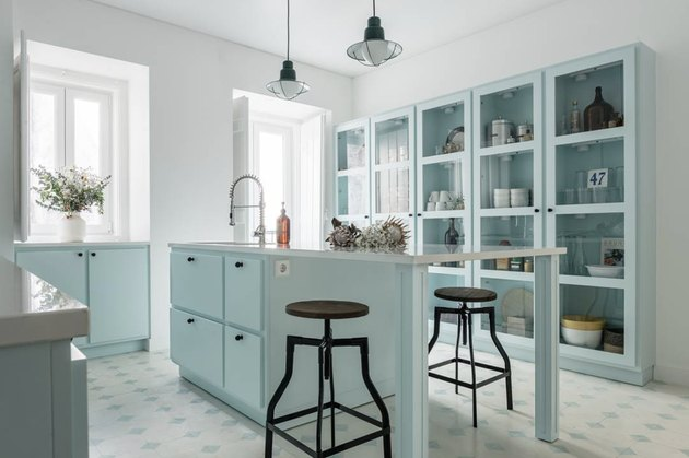 baby blue kitchen cabinets