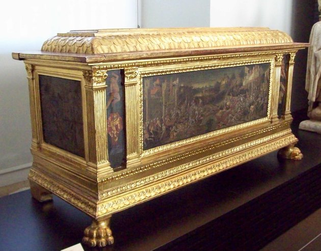 A gold leaf and oil painting hope chest from the Renaissance era
