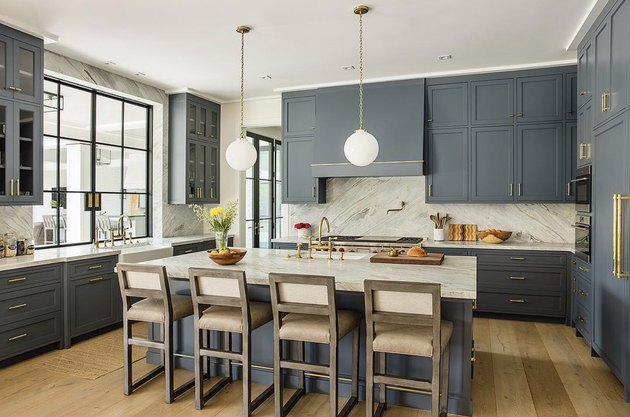 gray-blue shaker-style cabinets