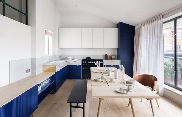 contemporary blue and white kitchen cabinets