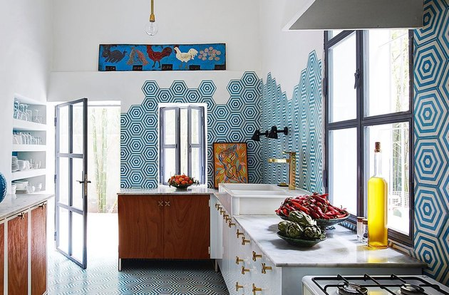 contemporary space with blue kitchen floor tile and backsplash tile