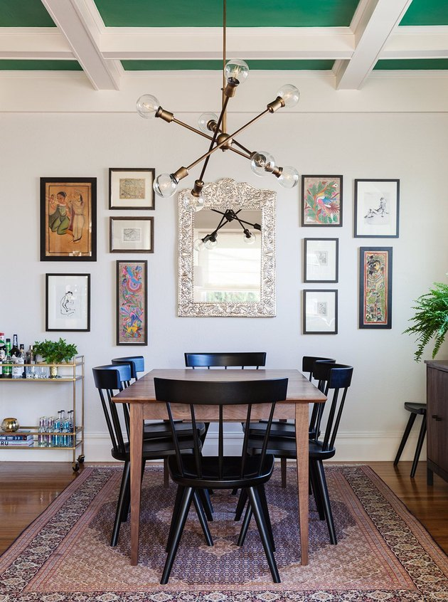 midcentury dining room with green ceiling