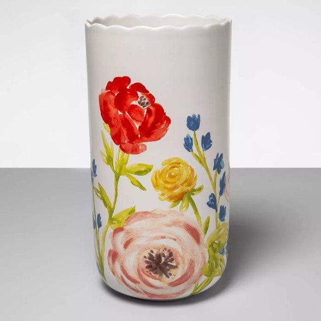 stoneware floral vase
