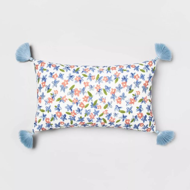 floral lumbar pillow with tassels