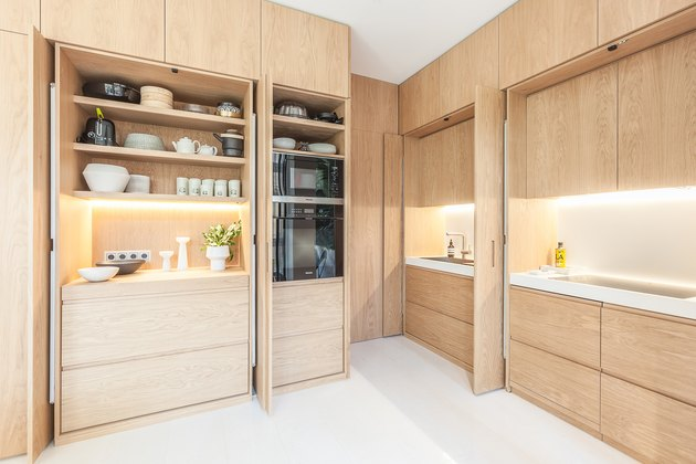 kitchen with wood builtins